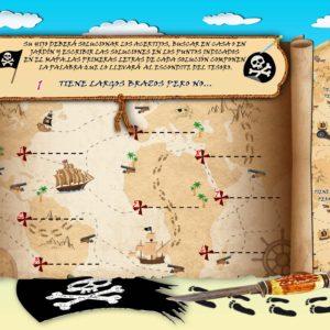 Búsqueda del tesoro con mapa para niños.